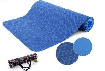 Thảm tập Yoga siêu cao cấp TPE đúc 1 lớp màu xanh dương dày 8mm(có túi đựng đi kèm)