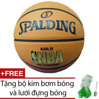 Quả bóng rổ Spalding NBA Gold Outdoor Size 7 (Ngoài trời) + Tặng bộ kim bơm bóng và lưới đựng bóng