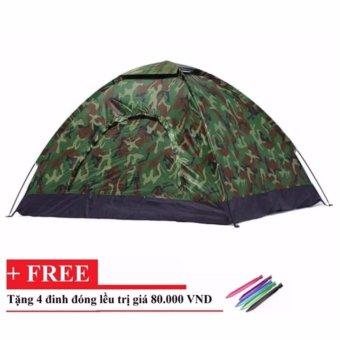 Lều cắm trại vải dù màu lính cho phượt thủ tặng kèm 4 đinh đóng lều