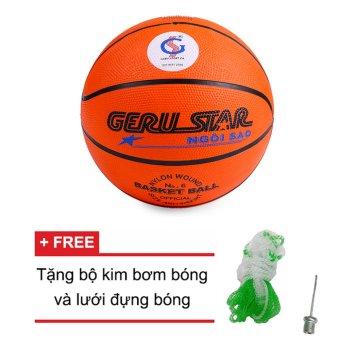 Quả bóng rổ Gerustar số 6 cao su (cam) + Tặng bộ kim bơm bóng và lưới đựng bóng