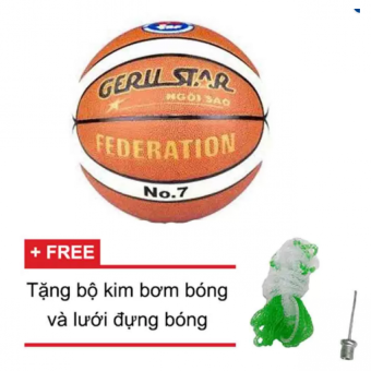 Quả bóng rổ da PU Gerustar Federation số 7 (Trắng Cam) và Tặng kim bơm bóng và lưới đựng bóng
