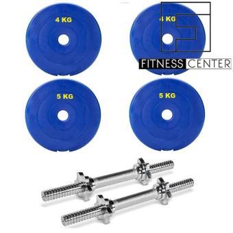 Bộ 2 Đòn tạ tay Fitness Center 35cm + Tặng bộ tạ miếng (2x4Kg và 2x5Kg)