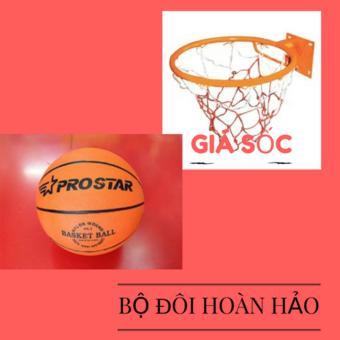 Combo bộ sản phẩm Vành bóng rổ 40cm + quả bóng rổ số 5 (Cam)