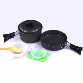 Lightweight Aluminum Alloy Camping Military Picnic Pan Pot Cookware Kit - intl