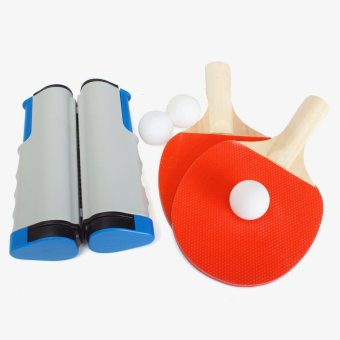 Retractable Table Tennis Net + 2 Racket Paddle Bat + 3 White Ping Pong Ball NEW - intl