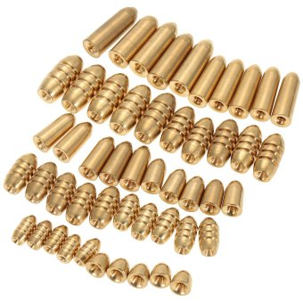 50pcs 1.8/3.5/5/7/10g Weight Assorted Copper Sinker Kit Fishing Tackle Sinkers in A Box Case - intl