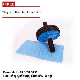 Máy tập cơ bụng AB Wheel tặng kèm thảm tập Clever Mart (Xanh phối Đen):