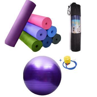 Bộ thảm yoga 6mm có túi+ Bóng tập trơn kèm bơm tay GocgiadinhVN-Tím