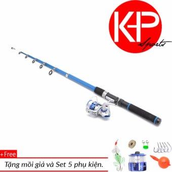 Bộ cần câu 2m4 KHP Blue New 100m dây+chuông báo cá + Tặng 1 mồi giả
