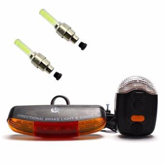 Bộ còi và đèn tín hiệu xe đạp XC-408 và 2 đèn Led gắn van xe (vàng)