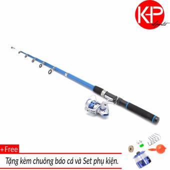 Bộ cần câu 2m4 KHP Blue New 100m dây+chuông báo cá