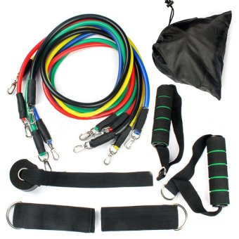 11 PCS Resistance Band Set Yoga Pilates Abs Exercise Fitness Tube Workout Bands - intl
