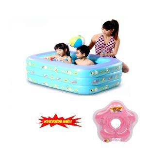 Phao bể bơi water wings 3 tầng +tặng kèm phao đỡ cổ cho bé(xanh dương)