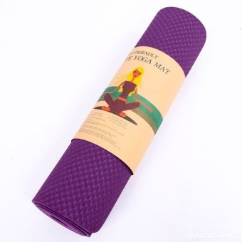 Thảm tập Yoga TPE dày 8mm siêu bám sàn màu tím (Có túi đựng đi kèm)