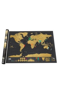 Moonar Deluxe Travel Scratch Off Map Personalized World Map Poster Luckies Personal Log - Intl