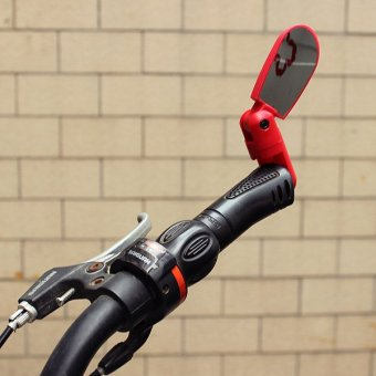 Adjustable Bicycle Bike Cycling Handlebar Rear view Bar End Mirror Wide Angle Red - Intl