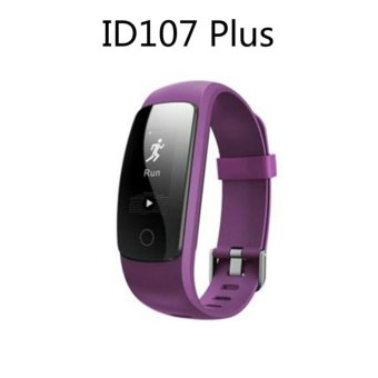 Smart Bracelet ID107 Plus Heart Rate Monitor GPS Tracker Smartband Sport Fitness Tracker For Android IOS (Purple) - intl