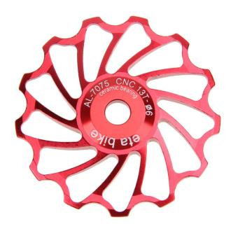 13T MTB Ceramic Bearing Jockey Wheel Pulley Road Bike Bicycle Rear Deraille (Red) - intl