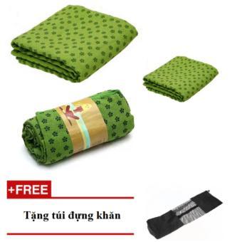 bộ 3 khăn trải thảm yoga hạt PVC ( xanh lá)
