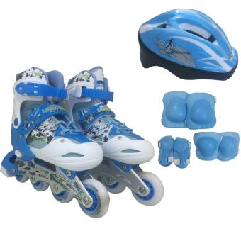 Mua Bộ Giày Patin PTB PT01 + Găng Tay + Mũ Bảo Hiểm Size M (Xanh nhạt). giá tốt nhất