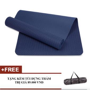Thảm yoga TPE 6mm (Xanh Coban) + Túi