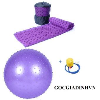 Bộ khăn trải tập yoga có túi+ Bóng tập có gai kèm bơm tay GocgiadinhVN-Tím