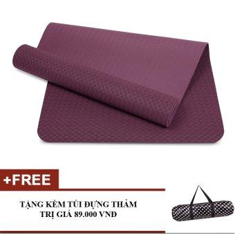 Thảm tập yoga TPE 6mm cao cấp kèm túi (Tím)