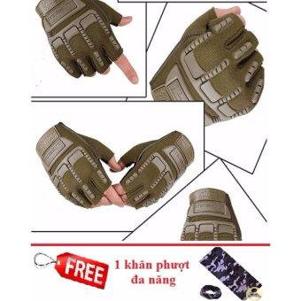 Găng tay hở ngón thể thao (Xanh rêu) + Tặng 1 khăn phượt đa năng