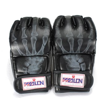 PU Leather Training Grappling UFC Boxing Fight Punch Mitts MMA Sanda Gloves Black - intl