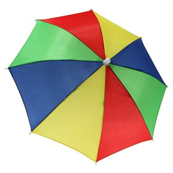 Outdoor Foldable Sun Umbrella Hat Golf Fishing Camping Headwear Cap Head Hats - intl