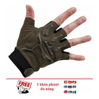 Găng tay nam hở ngón kiểu lính (Xanh rêu) + Tặng 1 khăn phượt đa năng