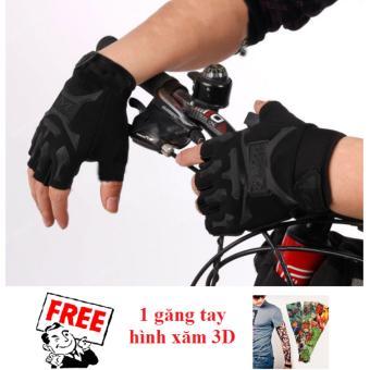 Găng tay nam hở ngón kiểu lính (Đen) + Tặng 1 găng tay hình xăm 3D