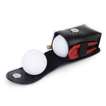 Mini Portable Leather Clip On Golf Ball Holder Pouch Bag Hold 2 Balls Golfer Aid Tool Gift Black - Intl