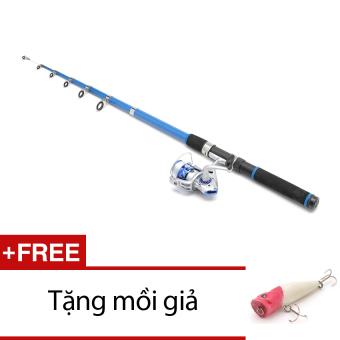 Bộ cần câu Blue New 2m1 kèm máy và 100m dây cho người mới tập câu + Tặng 1 mồi giả