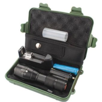 8000LM Zoom XML T6 LED Tactical Flashlight Torch + 18650 Battery + Charger +Case EU - intl