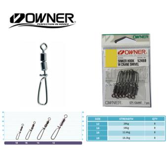 Mua Khóa Câu cá Owner Sinker Hook W Crane Swivel 52459 Size : 16 giá tốt nhất