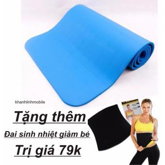 Thảm tập Yoga siêu bền loại dày 10mm TPE (xanh) +Tặng gen nịt bụng giảm béo