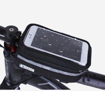 Túi treo sườn xe đạp hỗ trợ cảm ứng, chống nước chống sóc cho điện thoại cao cấp H77-ĐEN XÁM