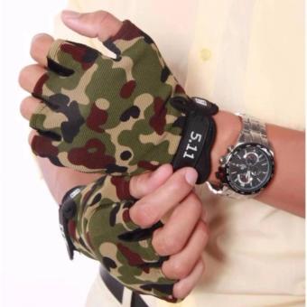 Găng tay hở ngón Nam màu rằn rì 511 Quân đội