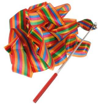 4M Dance Ribbon Gym Rhythmic Art Gymnastic Ballet Streamer Twirling Rod - intl