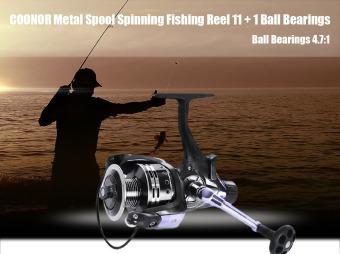 COONOR Metal Spool Spinning Fishing Reel 11+1 Ball Bearings IFR6000(Black) - intl