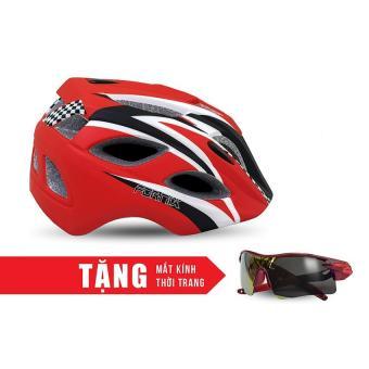 Nón bảo hộ cho người đi xe đạp FORNIX H016-M (Đen đỏ) + Tặng Mắt kính thời trang