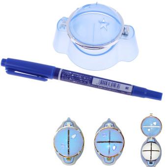 Golf Ball Liner Marker Template Drawing Alignment Tool Plastic + Pen Blue - intl