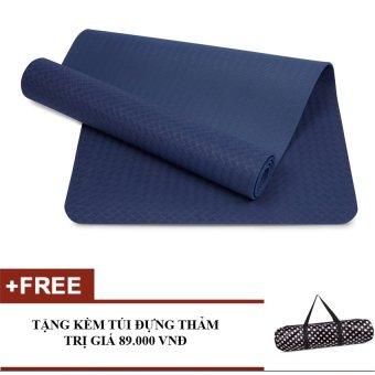 Thảm tập yoga TPE 6mm cao cấp kèm túi (Xanh coban)
