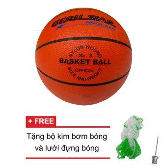 Quả bóng rổ Trẻ em Gerustar số 3 cao su (cam) + Tặng bộ kim bơm bóng và lưới đựng bóng