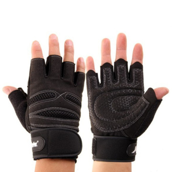 Pair Extened Wrist Wrap Gloves Workout Fitness Weight Lifting Gym Sport M - Intl