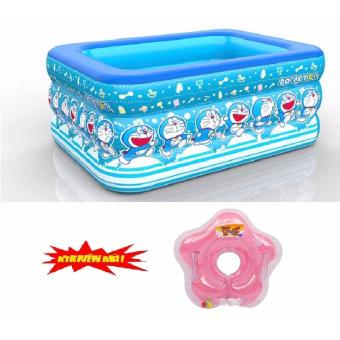 Bể bơi phaowater wings 3 tầng +tặng kèm phao đỡ cổ cho bé(xanh dương)