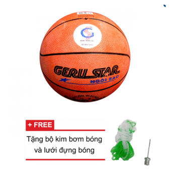 Quả bóng rổ Gerustar số 5 cao su (Cam) và Tặng kim bơm bóng và lưới đựng bóng