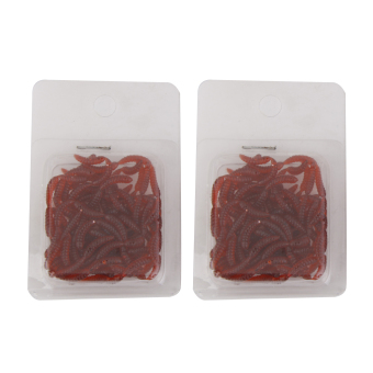 200Pcs 1.2 cm Soft Red Earthworm Worm Lures Fishing Bait Carp Bream Perch - intl