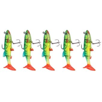 5Pcs/Lot 3D Eyes Lead Fishing Lures T Tail Soft Lure Treble Hook Baits 14g - intl